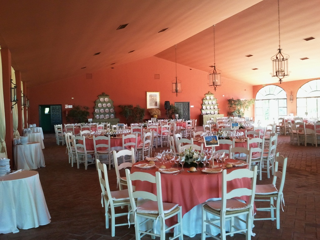Salón para almuerzo con iluminación natural en Dehesa Bolaños