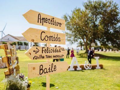 Cartel indicaciones - Boda Isabel & Alberto en Dehesa Bolaños