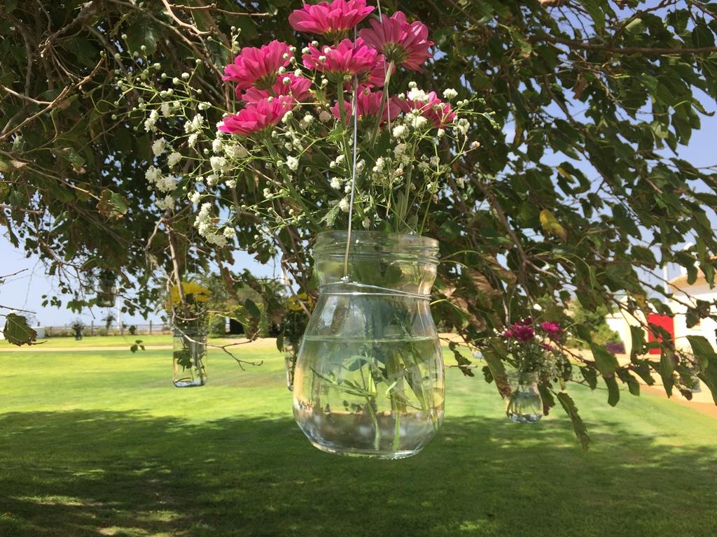 Tarros con flores colgando árbol - Boda Lorena & Jesús en Dehesa Bolaños