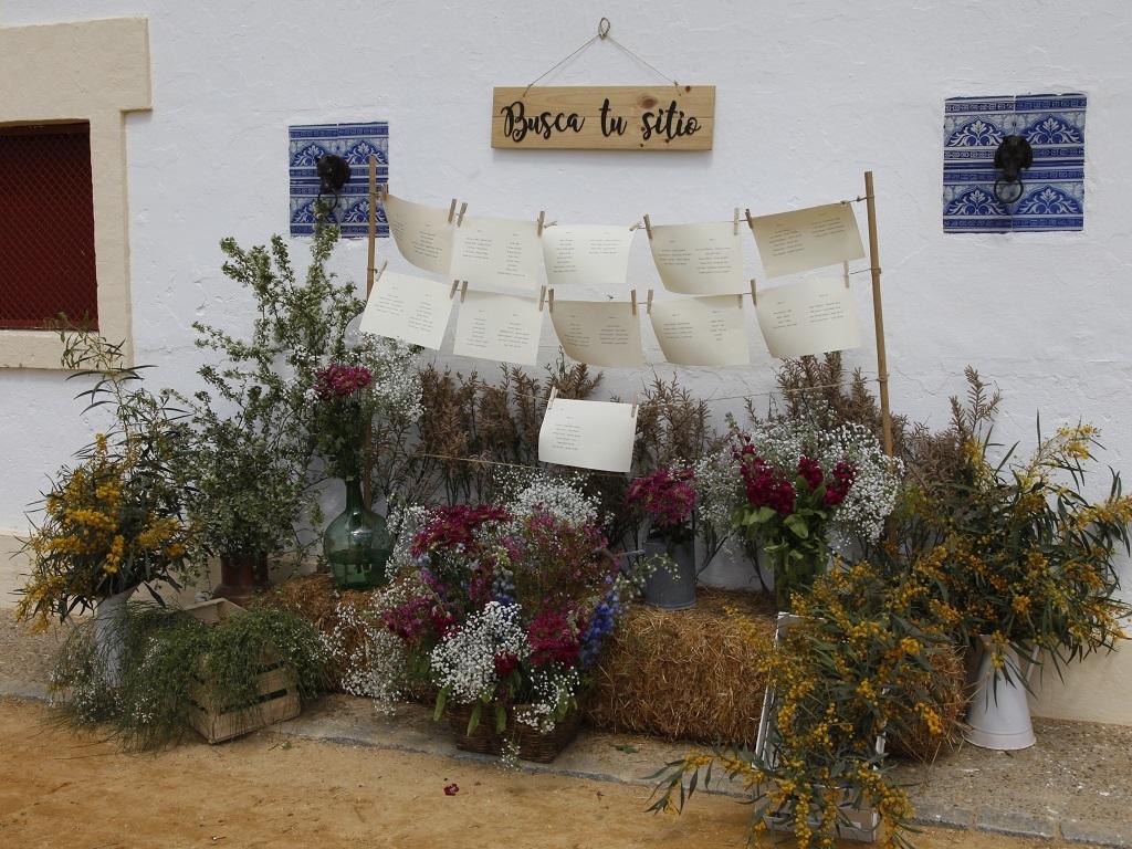Seating plan rústico con flores y alpacas - Boda Azahara & J. Enrique en Dehesa Bolaños