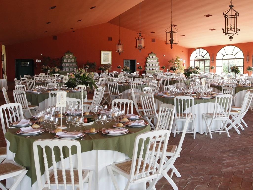 Salón almuerzo - Boda Azahara & J. Enrique en Dehesa Bolaños