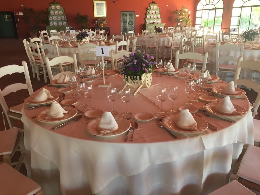 Montaje mesas salón - Comunión Javier en Dehesa Bolaños
