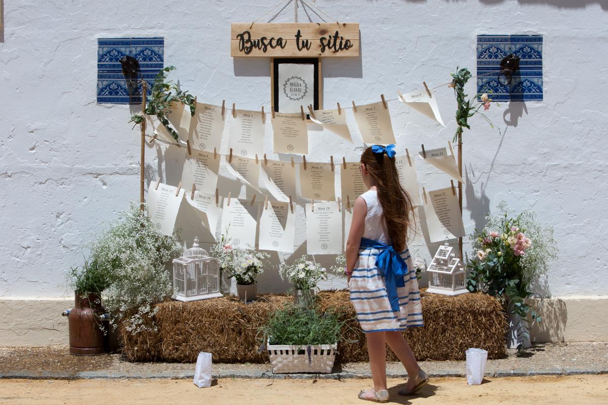 Seating plan en tendedero con alpacas - Boda María & Álvaro en Dehesa Bolaños